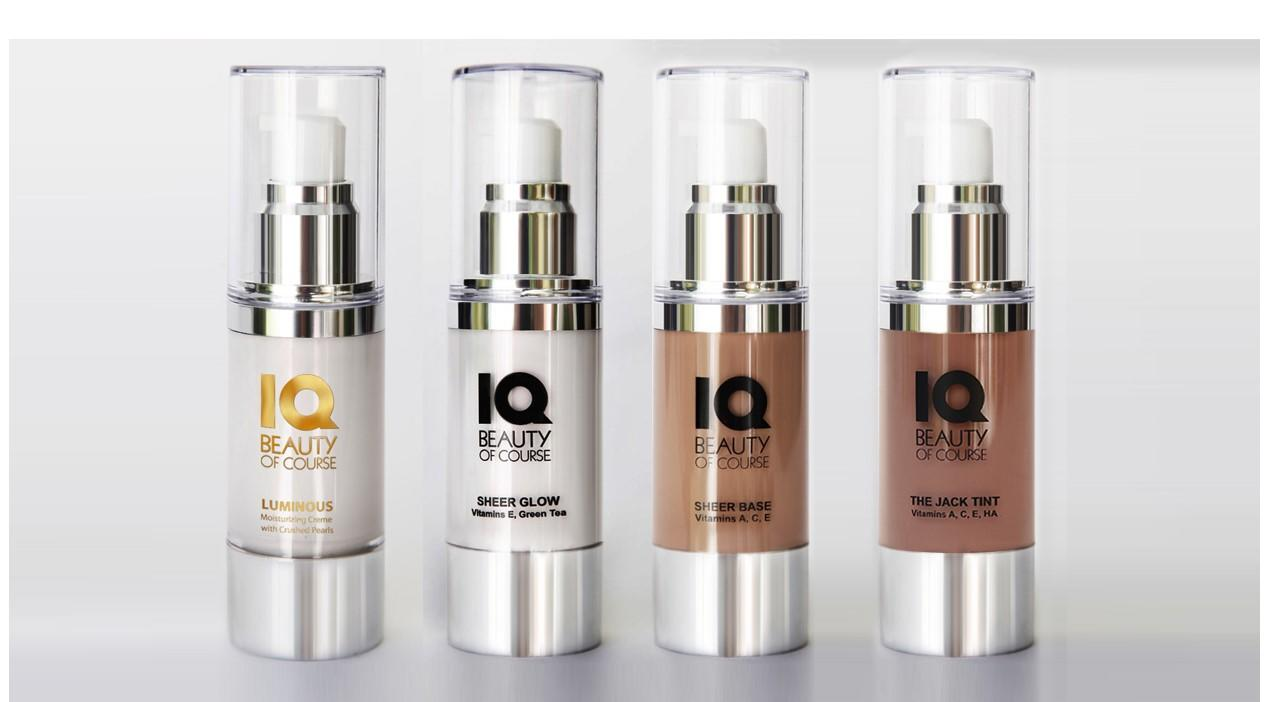 Luminous, Sheer Glow, Sheer Base, The Jack Tint products as four bottles with pump tops